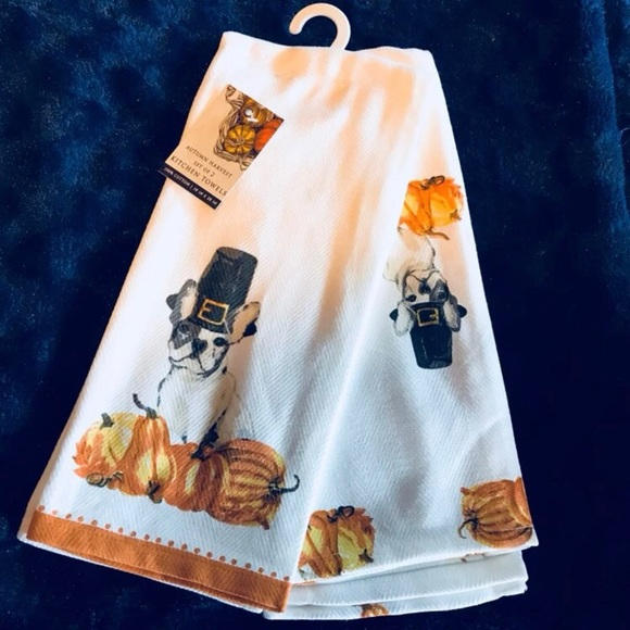 French Bulldog Thanksgiving Kitchen Towels. M_5bab8093df03076133408740